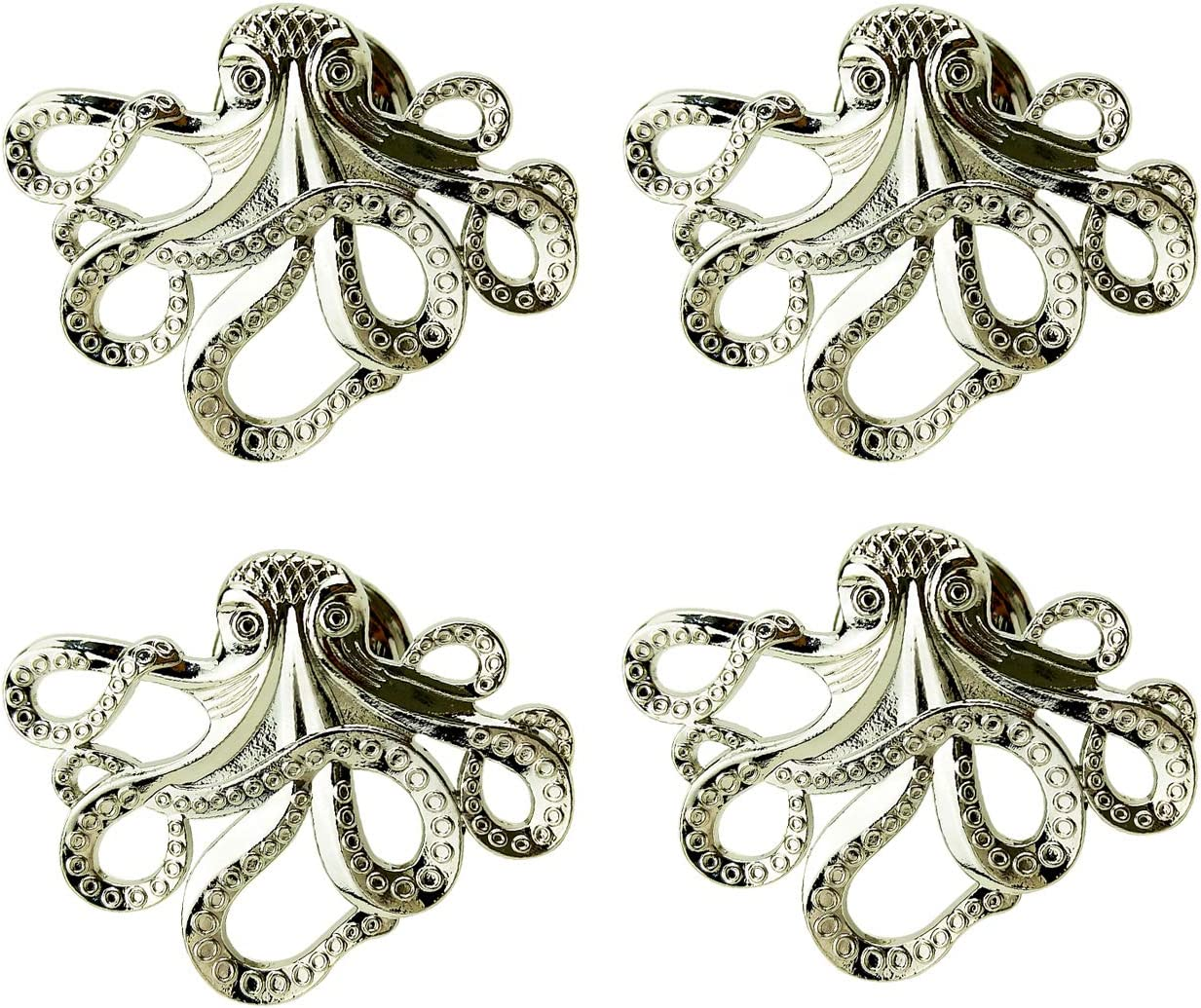 ZTie Set of 4 Octopus Drawer knobs for Coastal Home Metal Octopus Cabinet Knobs Nautical Beach Decor Dresser Knobs Pulls Handles (Silver)