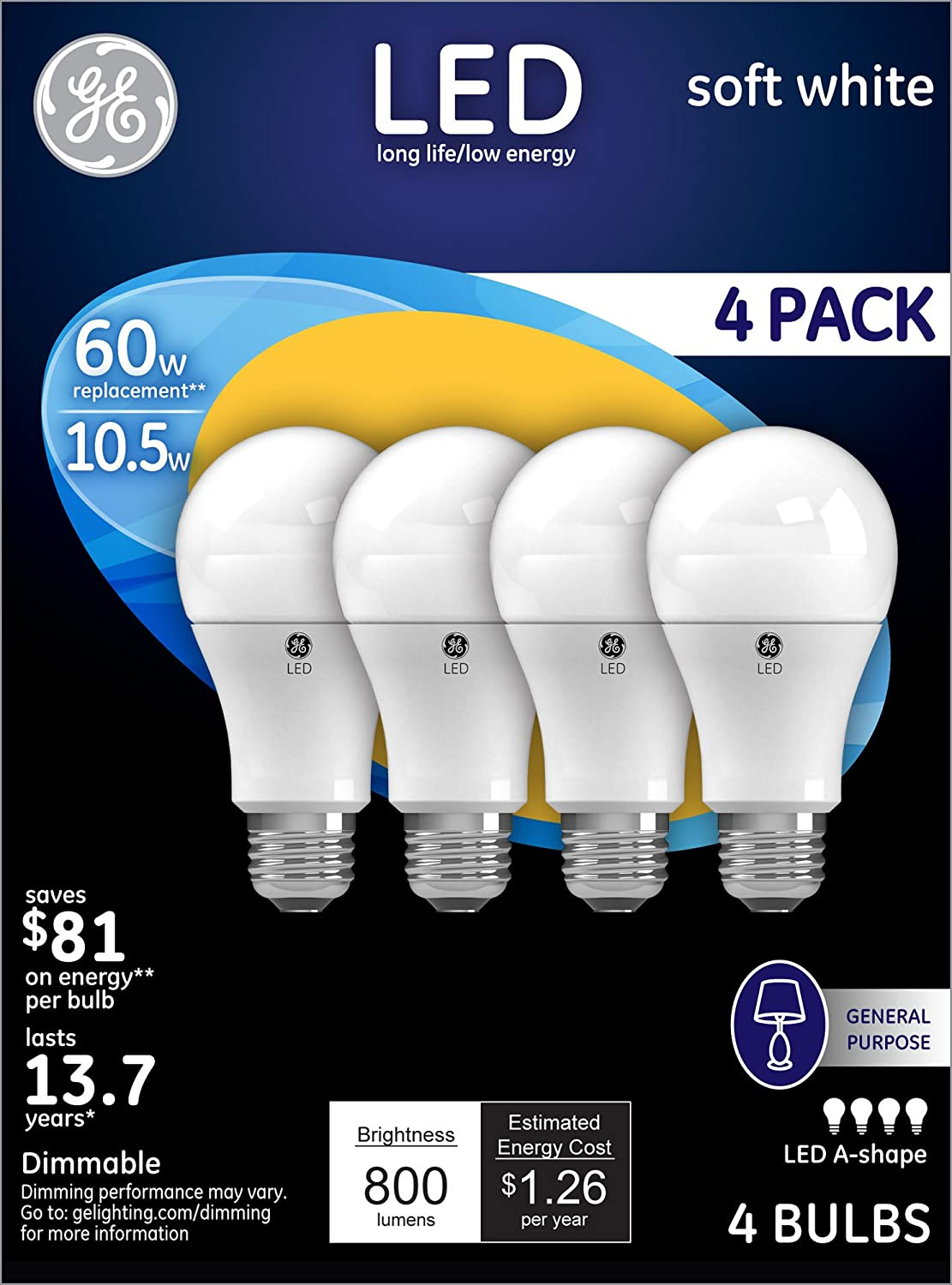 GE Lighting 88733 Energy-Smart LED 10.5-watt 800-Lumen A19 Bulb with Medium Base Soft White 4-Pack - - Amazon.com  sc 1 st  Amazon.com & GE Lighting 88733 Energy-Smart LED 10.5-watt 800-Lumen A19 Bulb ... azcodes.com