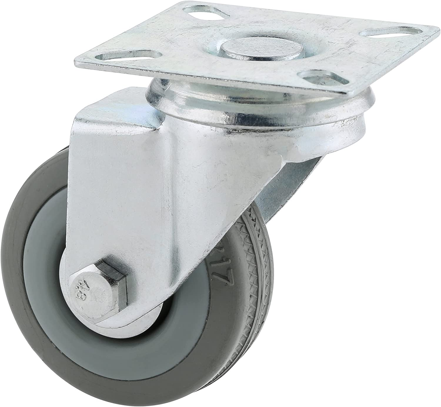 Steelex D2582 3-Inch 110-Pound Fixed Rubber Plate Caster Gray