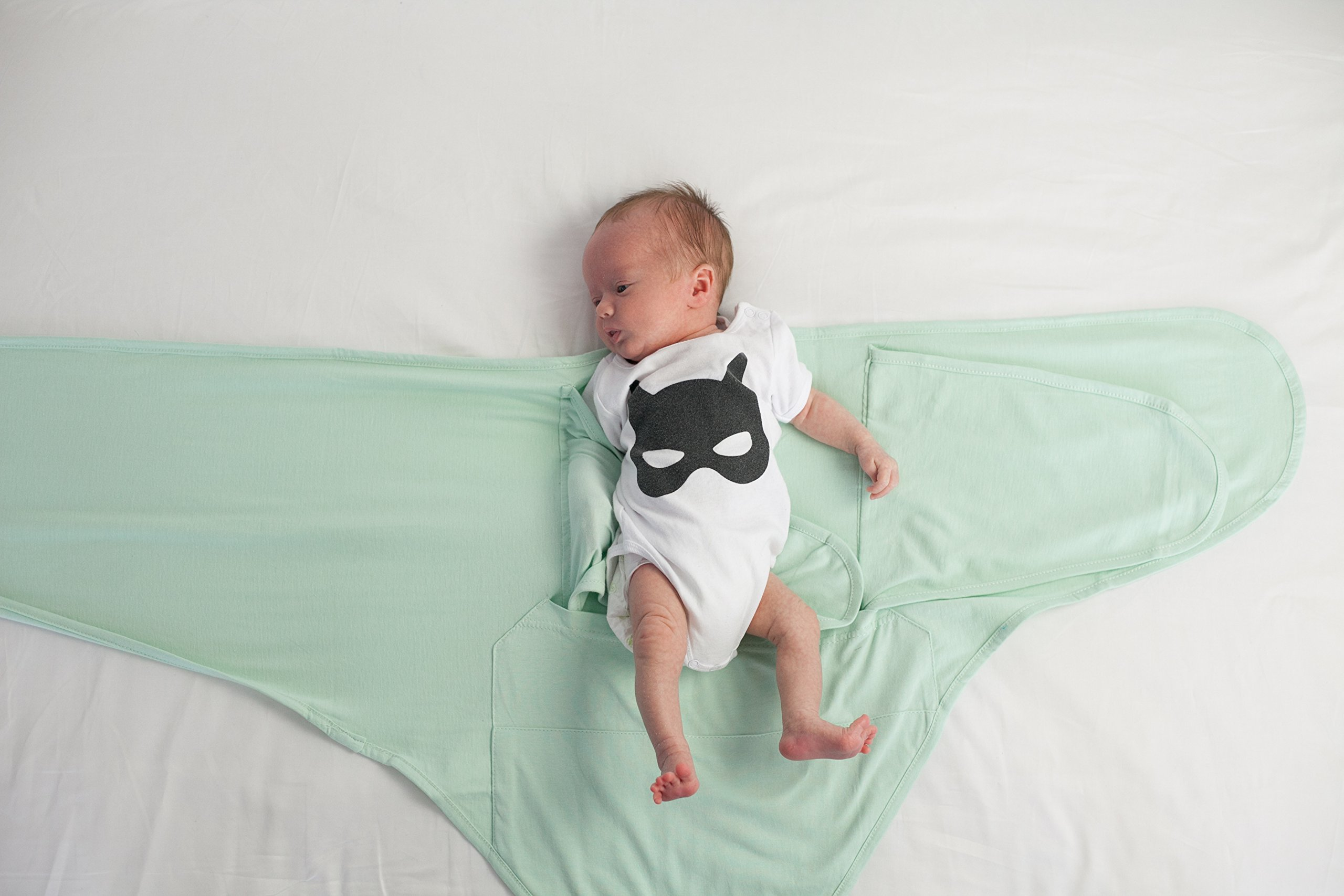 Miracle Blanket Swaddle Unisex Baby, Solid Mint, Newborn to 14 weeks by Miracle Blanket (Image #3)