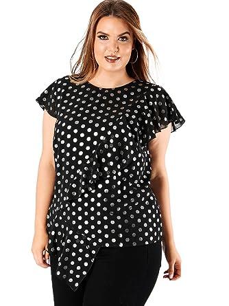 2ee80d9de17282 Lovedrobe Koko Women s Plus Size Silver Spot Asymmetric Top  Amazon ...