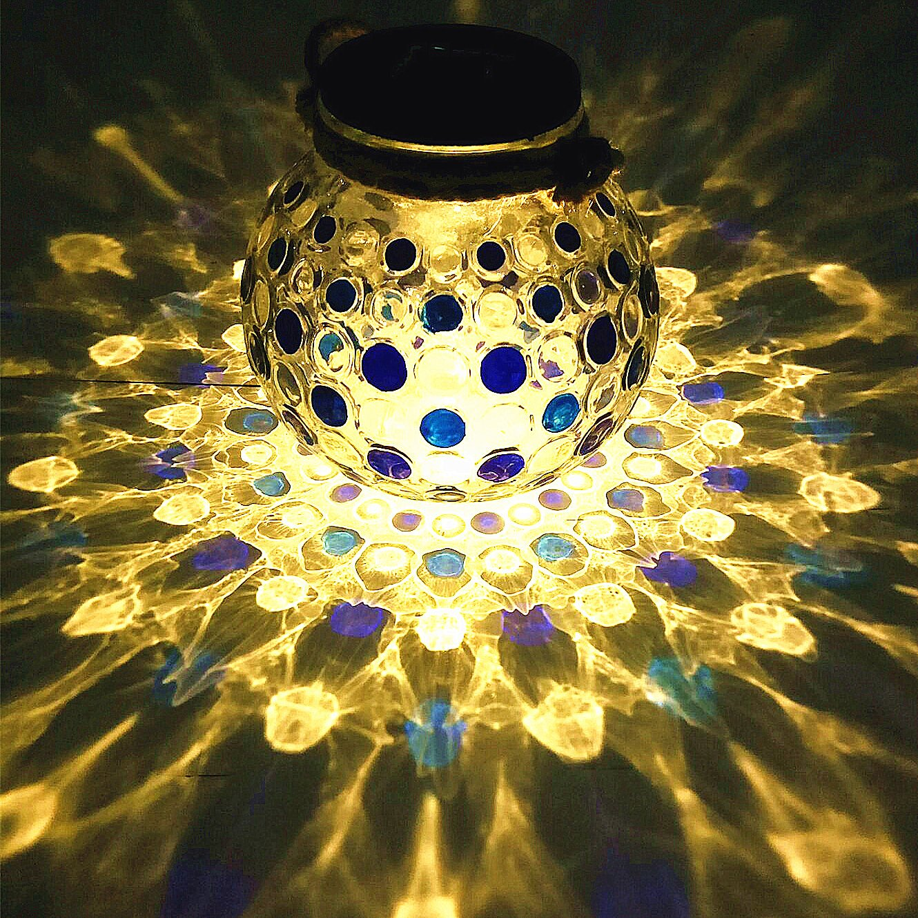 Sogrand Solar Jar Lights Outdoor Lids for Mason Jars Blue Dot Hanging Lantern Home Decor 2018 of The Day Warm White LED Rope Hanger Light Lid Decorative Lamp for Patio Garden Bar Party
