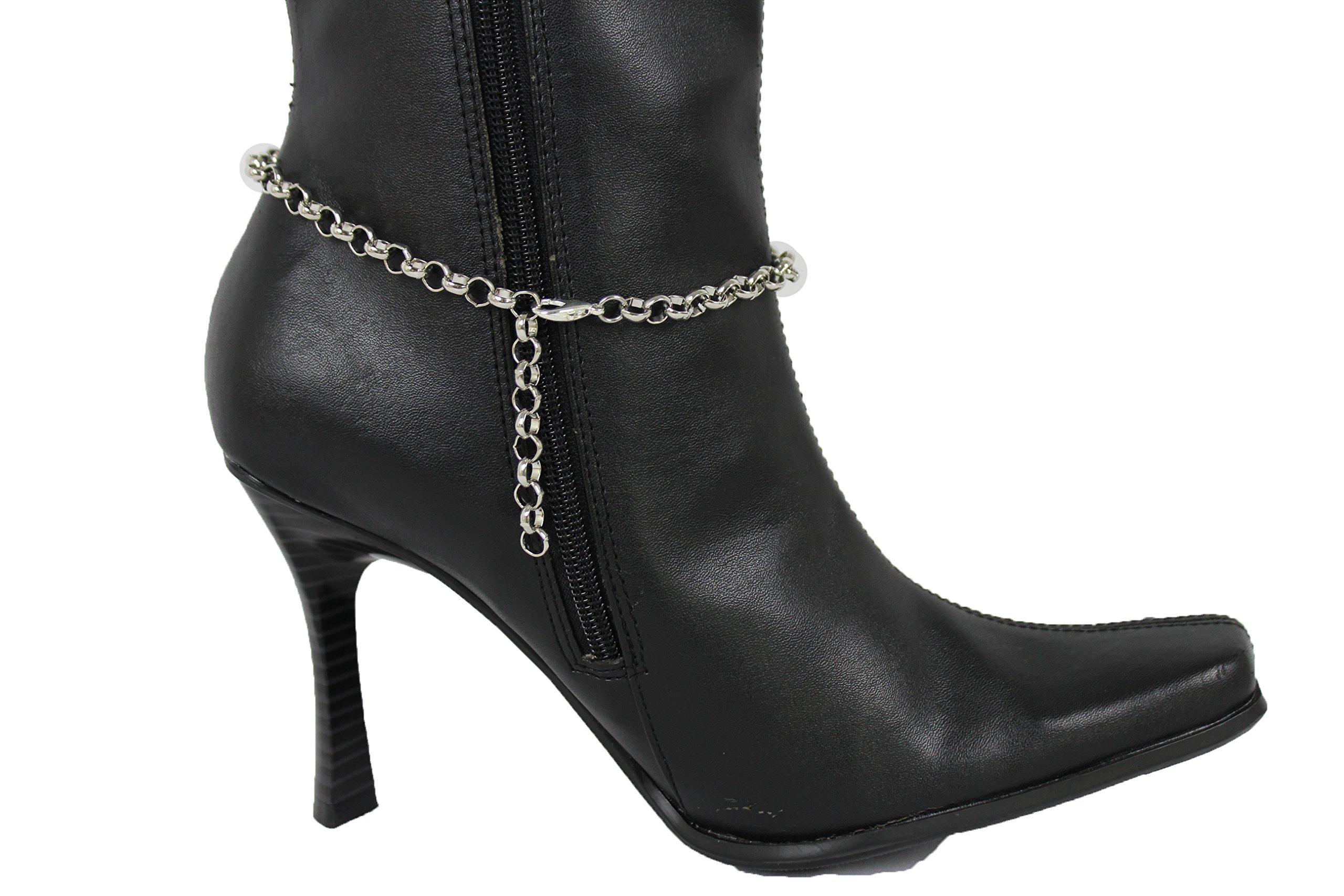 TFJ Women Western Fashion Steam Punk Jewelry Boot Bracelet Silver Metal Chain Shoe Clock Part Charm Bling