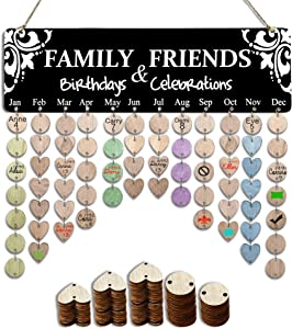YuQi Best Gifts Presents Ideas for Mom Grandma, Wooden Family Birthday Record Reminder Calendar Board, Events Anniversary Tracker Plaque Wall Hanging for Home Classroom Bar Wall Decor