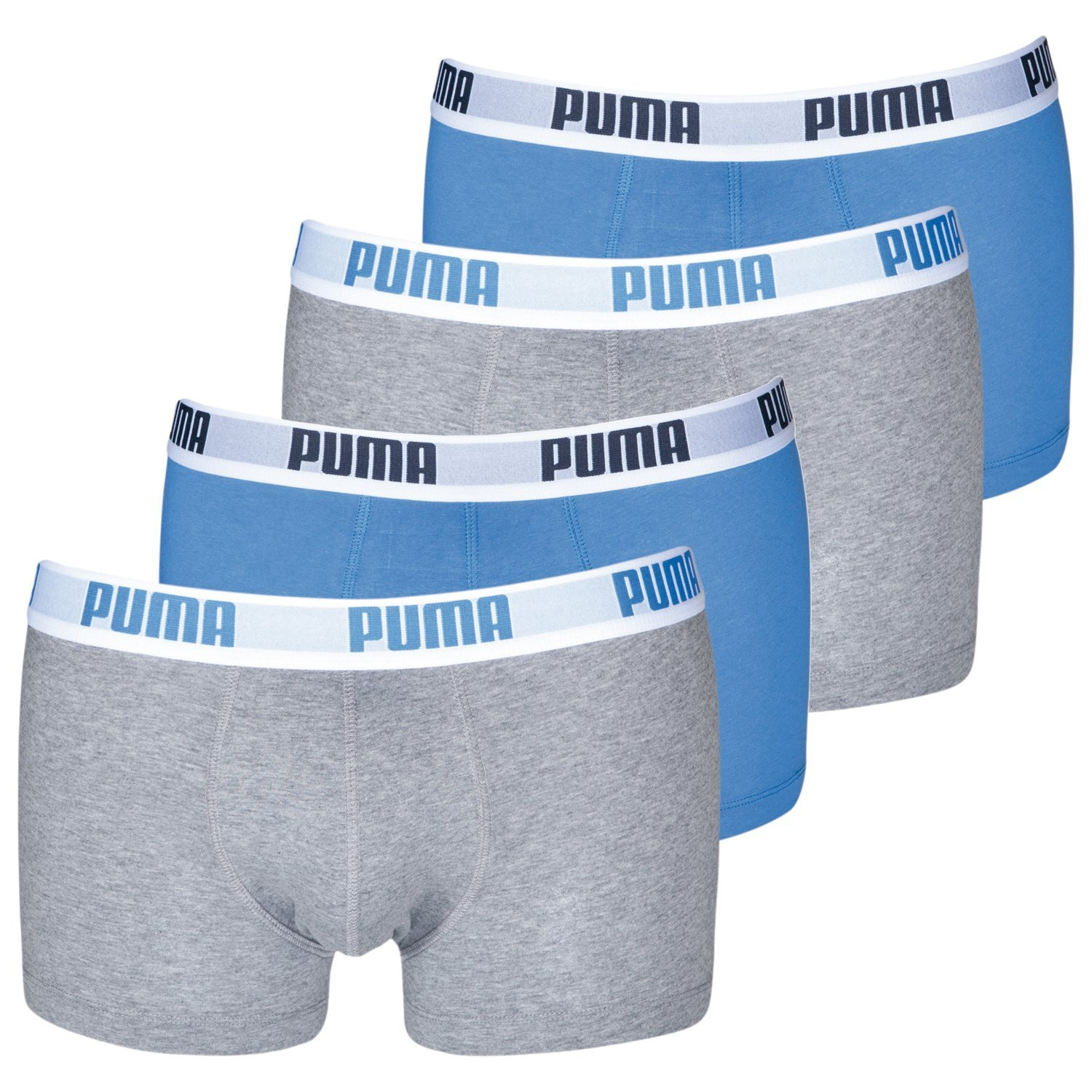 Puma Mens Basic Boxers Boxer Shorts Various Colours Pack of 4 - X-Large, Blue