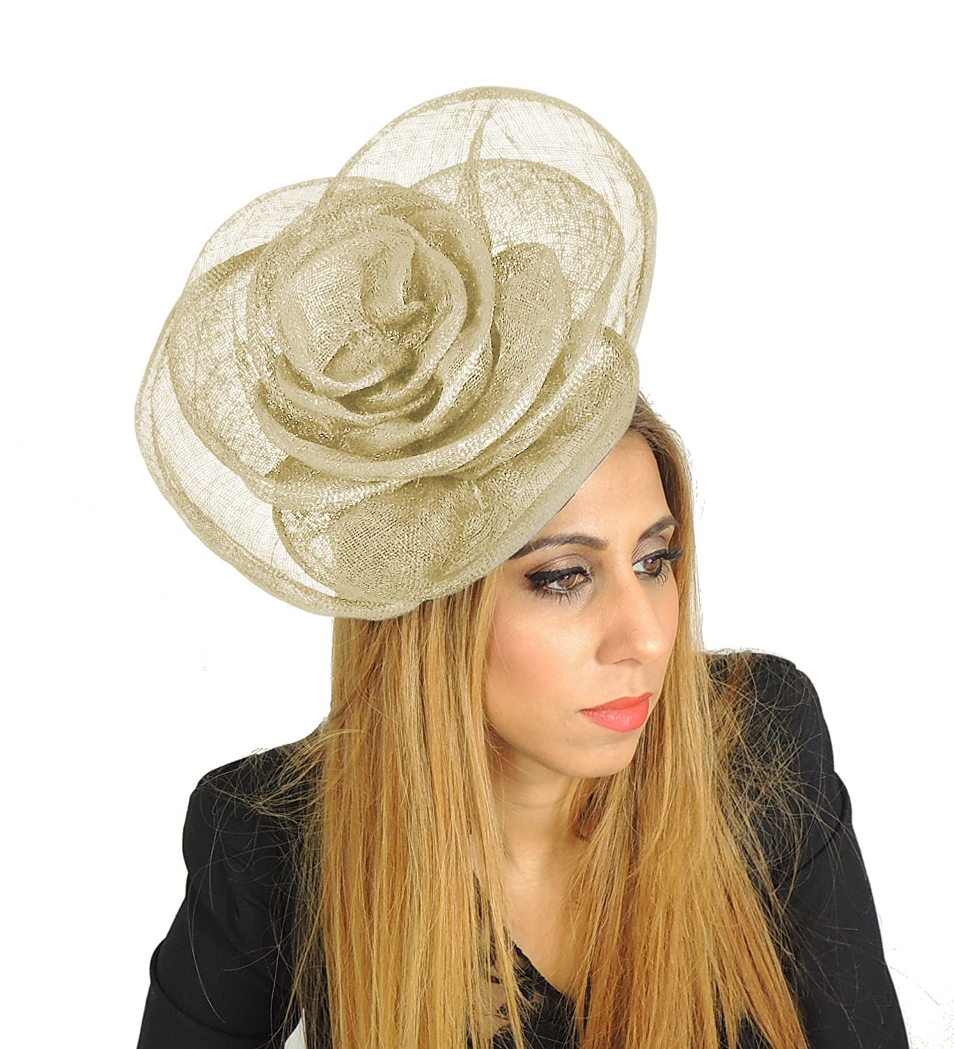 49499ccd1fdb3 Large 10 Inch Cuban Ascot Kentucky Derby Wedding Rose Fascinator Hat Alice  Band - With Headband Aubergine at Amazon Women s Clothing store  Fashion ...