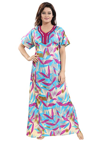 b5a17f41bf273 TUCUTE Womens Premium Cotton Fabric Nighty Night Gown Nightwear Nightdress  with Leaf Print