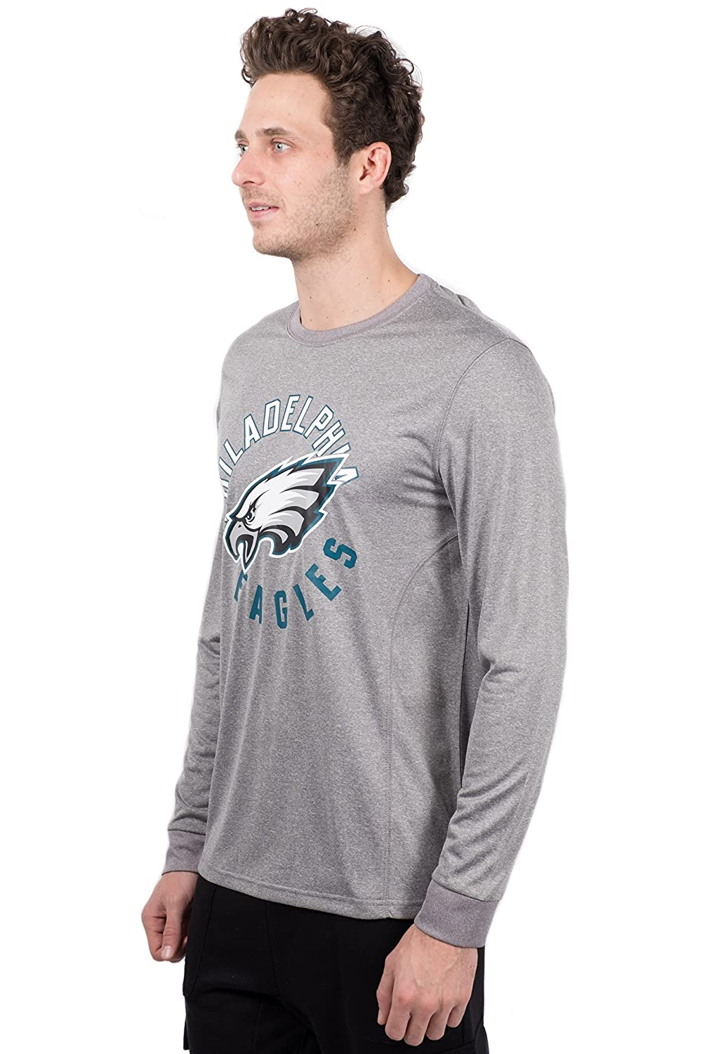 NFL Philadelphia Eagles Ultra Game Mens LS POLY CREW NECK TEE Small Heather Gray