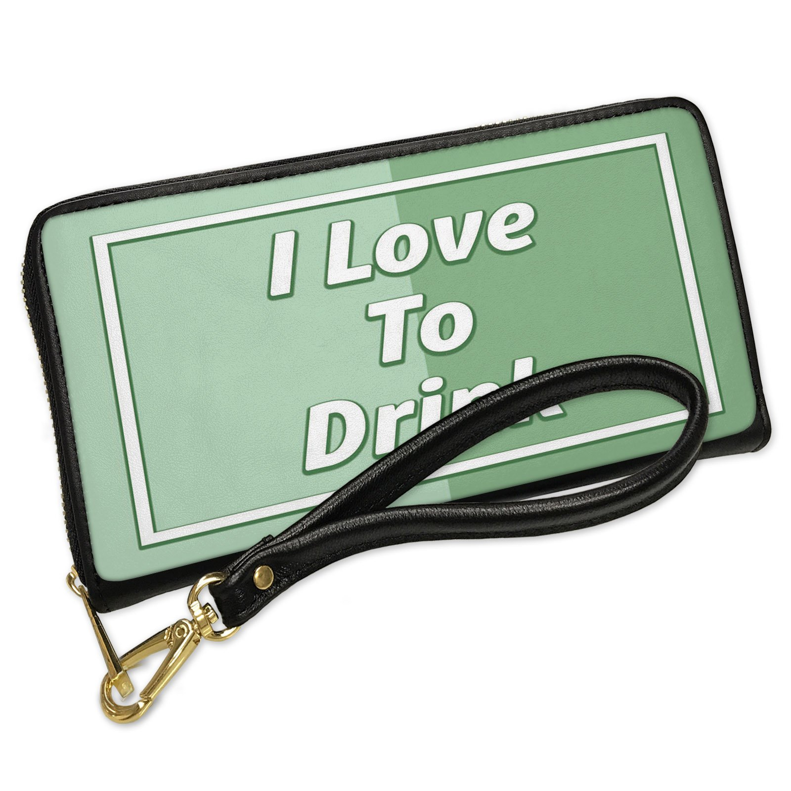 Wallet Clutch I Love To Drink St. Patrick's Day Modern Green with Removable Wristlet Strap Neonblond