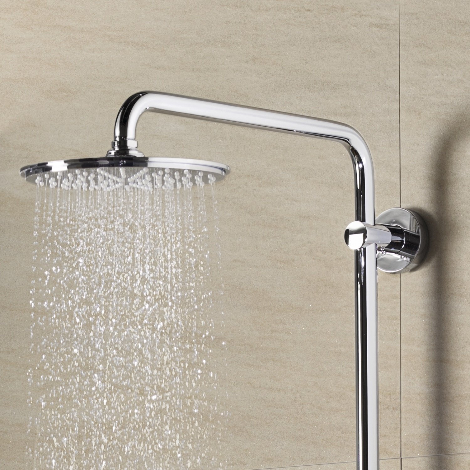 chrome with shower head hand shower wall rail; water-saving 27968000 wall mounted GROHE Rainshower 310 shower system with thermostat thermostatic rainshower set scalding protection