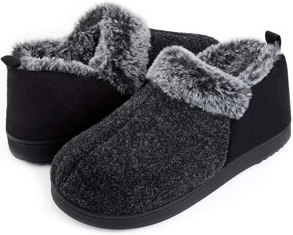 72fce09275acf Women's Cozy Memory Foam Slippers with Warm Plush Faux Fur Lining,  Wool-Like Blend Micro Suede House Shoes with Anti-Slip Indoor Outdoor  Rubber Sole