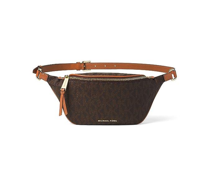07b55e1a254a MICHAEL Michael Kors Small Rhea Zip Signature Belt Bag (Brown ...