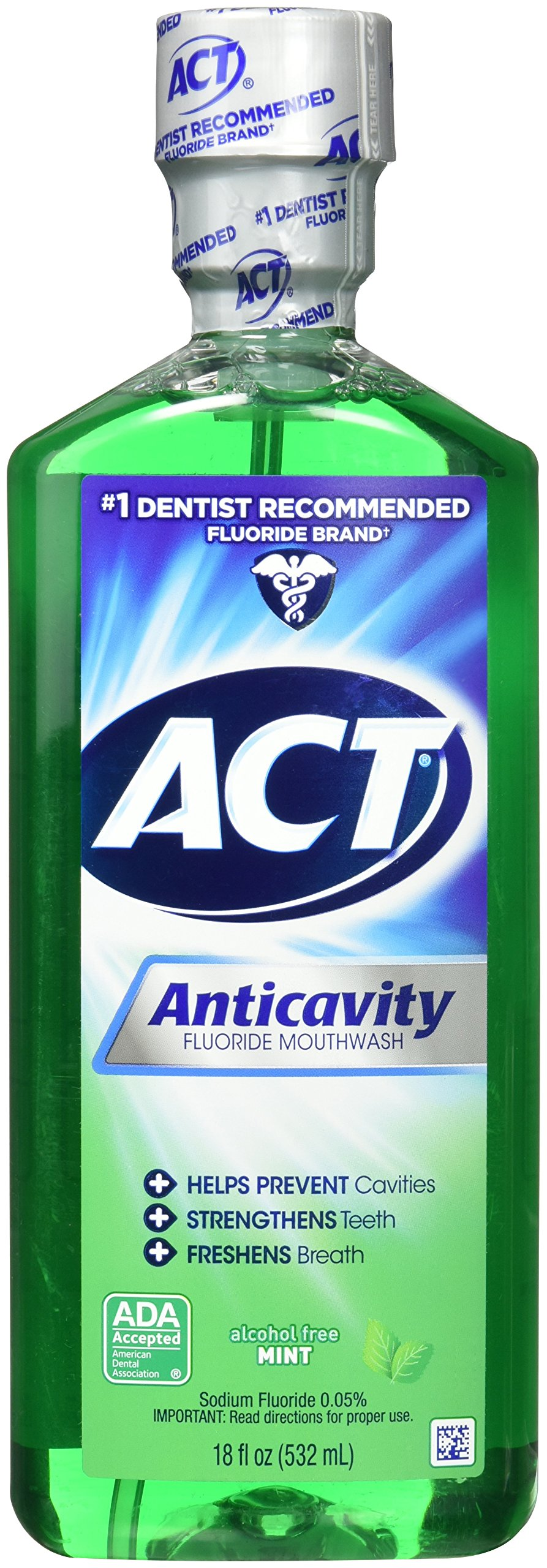 ACT Alcohol Free Anticavity Fluoride Rinse, Mint - 18 oz - 2 pk by ACT (Image #1)