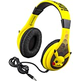 Pokemon Pikachu Kids Headphones, Adjustable Headband, Stereo Sound, 3.5Mm Jack, Wired Headphones for Kids, Tangle-Free, Volum