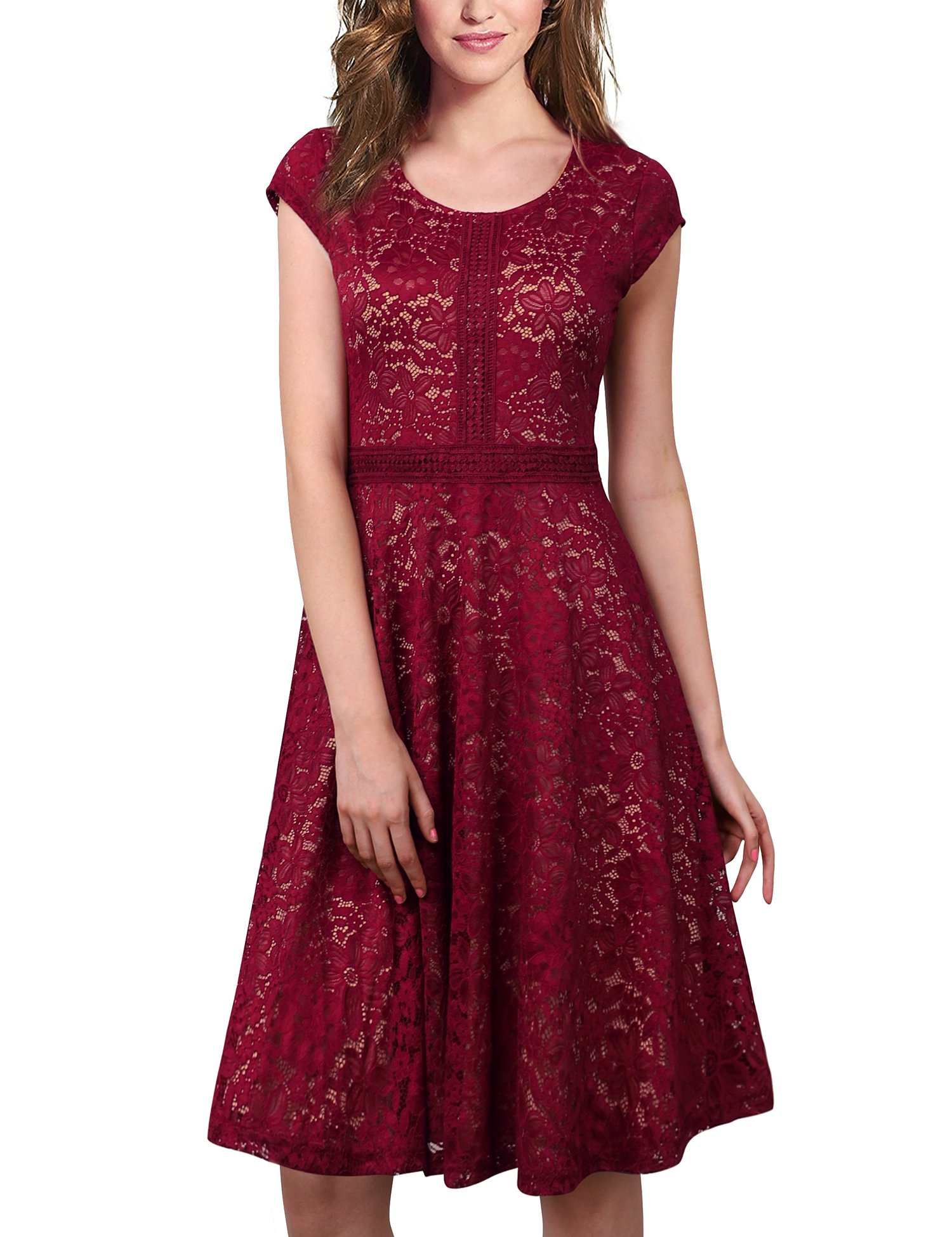Laksmi Women'Soft Scoop Neck Lace Floral Print A Line Cocktail Party Midi Dress Wine L