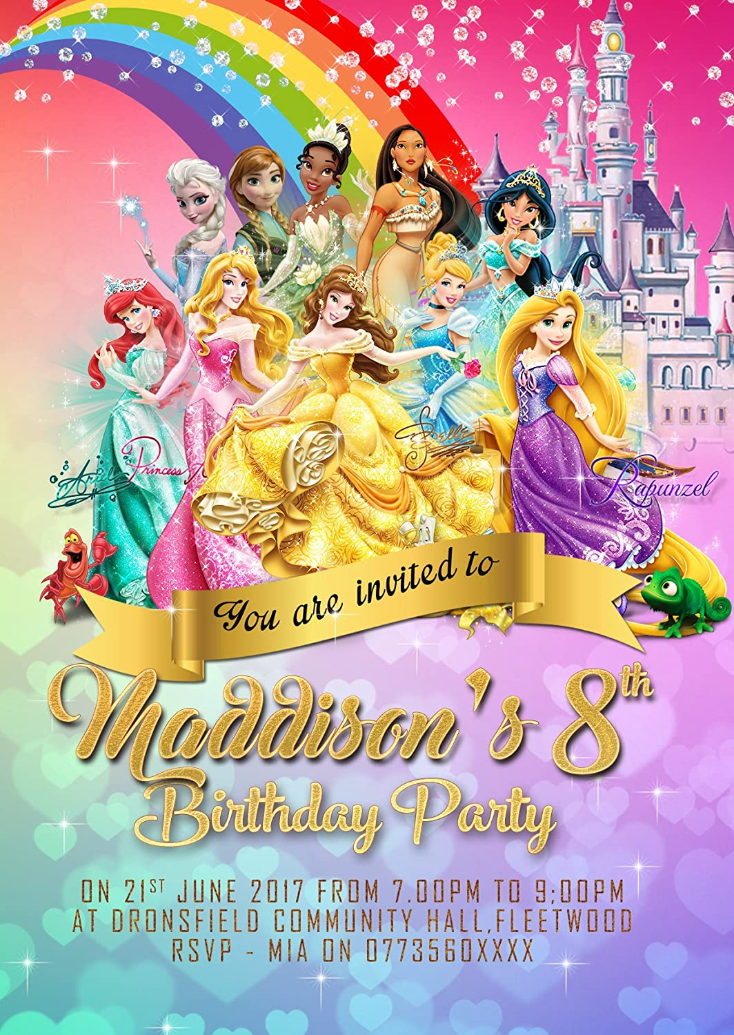 10 x Disney Belle birthday Party Invitations With 10 FREE Envelopes