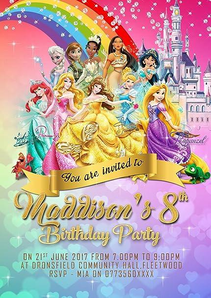 Personnalisé Disney Princesse Invitations De Fête D