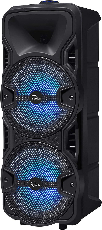SYTECH- SY-XTR26BT - Altavoz inalámbrico Bluetooth V5.0. Micrófono con Cable Incluido. Altavoces de 2 vías y Potencia 150W. Efecto Luces RGB. Función TWS. Sintonizador FM. Batería Recargable 1800 mAh