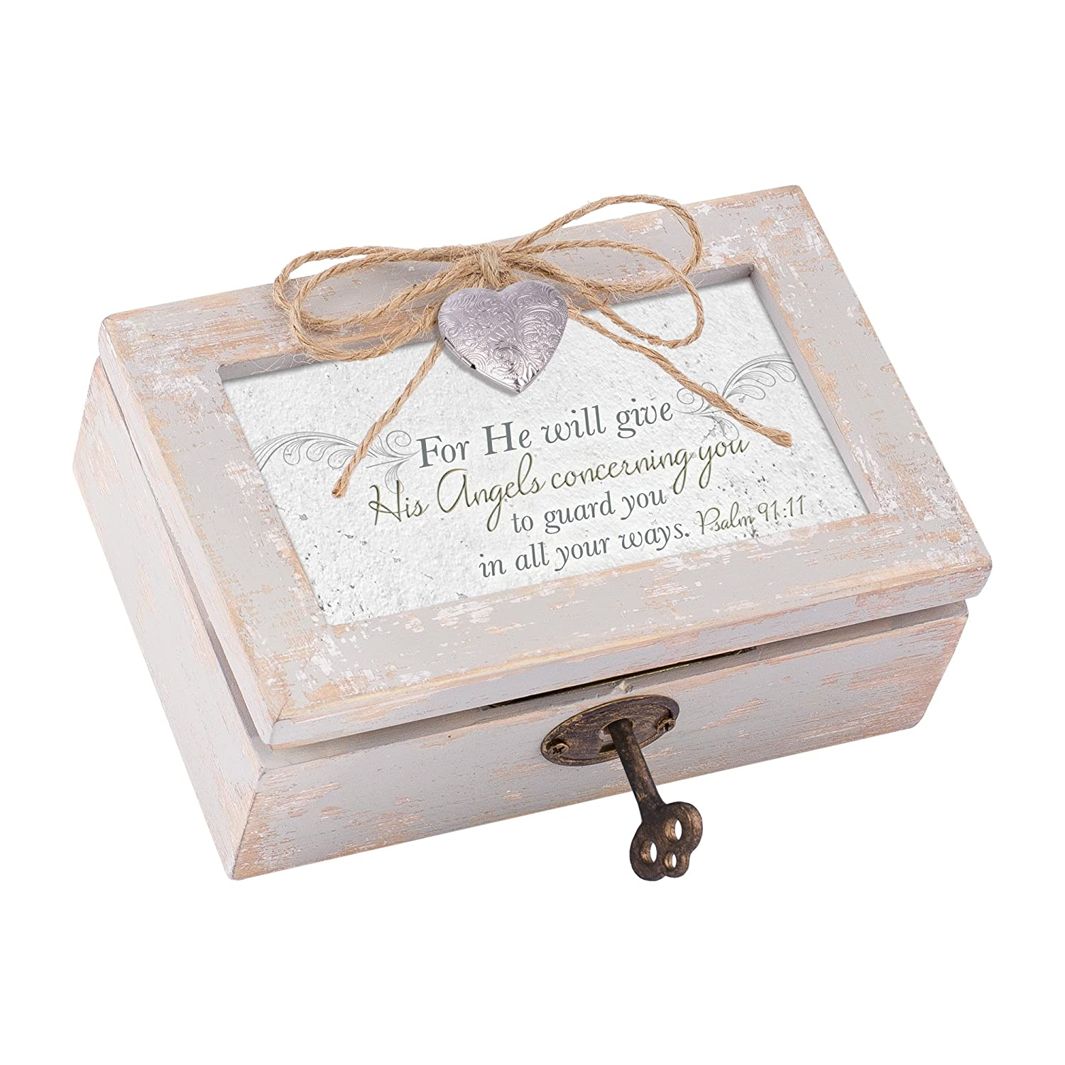 Cottage Garden He Will Give Angels to Guard You Distressed Wood Locket Jewelry Music Box Plays Tune Amazing Grace