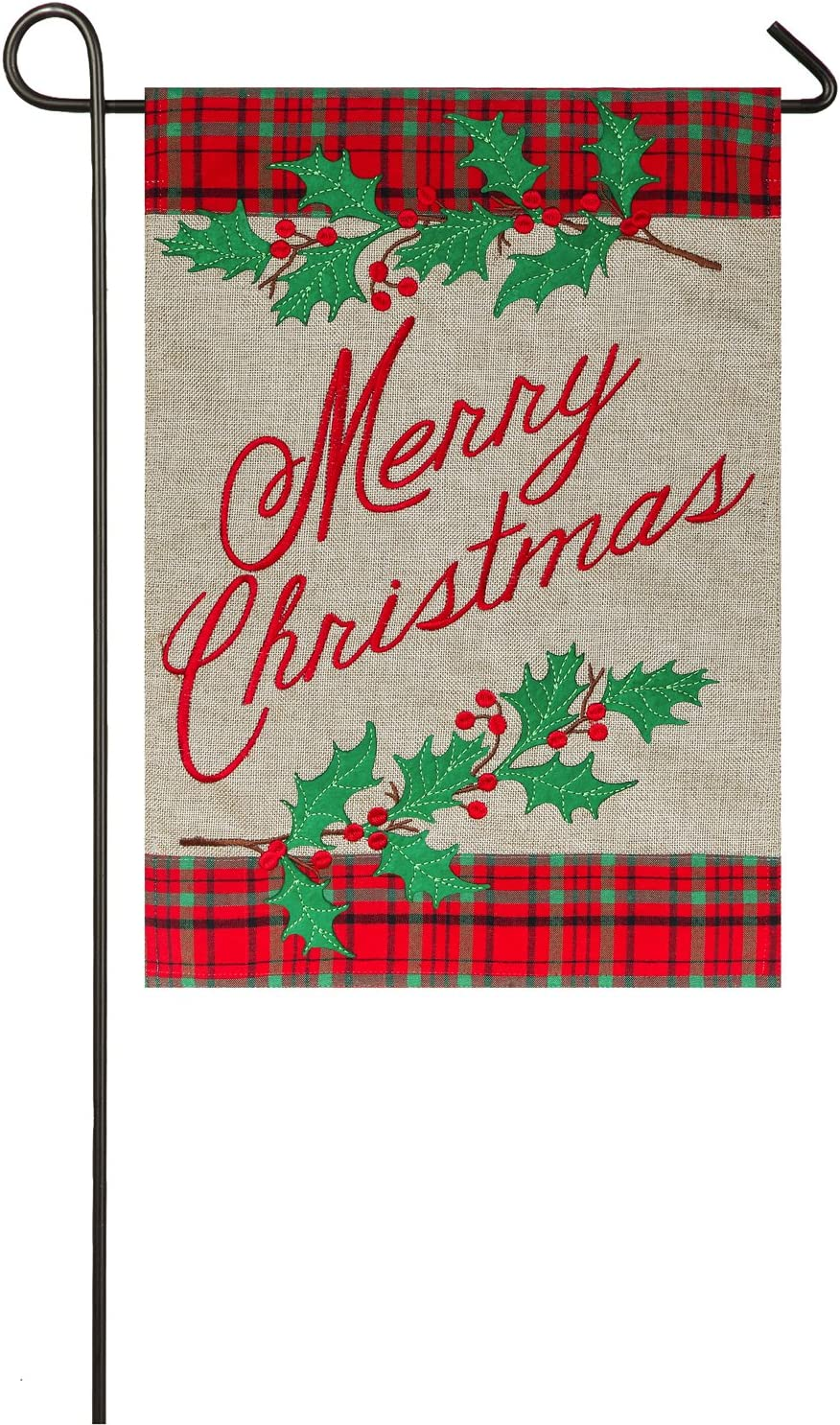Evergreen Merry Christmas Plaid Outdoor Safe Double-Sided Burlap Garden Flag, 12.5 x 18 inches