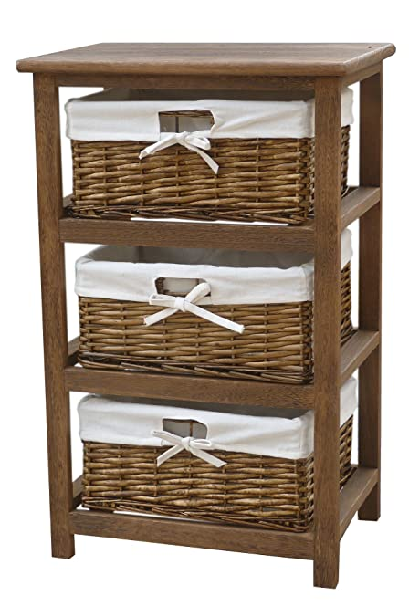 Charles Bentley Home Wooden Storage Tower With 3 Wicker Baskets Boxes With  White Lining   Cabinet