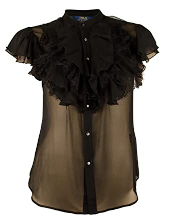 37ed5b00d2080 Polo Ralph Lauren Women s Sheer Ruffled Silk Blouse Top-B-12 Black at  Amazon Women s Clothing store