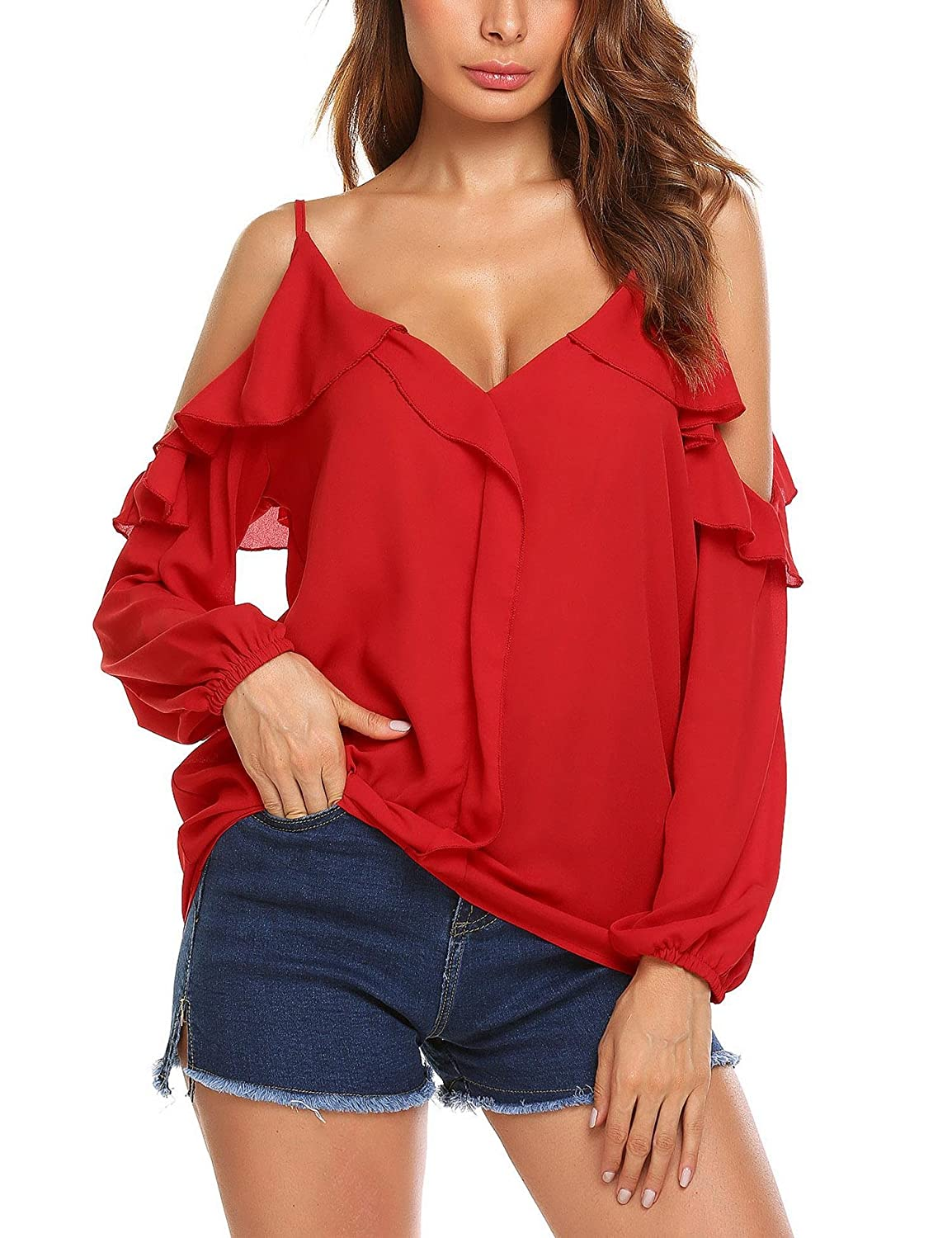 Meaneor Women's Chiffon Blouse Cold Shoulder Strap Long Sleeve Lotus Shirt Tops