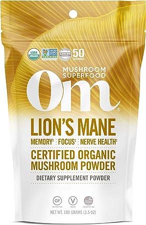 Om Organic Lions Mane Mushroom Powder, Memory Support, Focus, Clarity, Nerve Health, Superfood Mushroom Supplement, 2000mg dose (50 Servings) 3.5 Ounce
