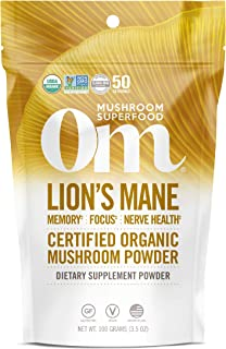 product image for Om Organic Mushroom Superfood Powder, Lions Mane, 3.5 Ounce (50 Servings), Memory Support, Focus, Clarity & Nerve Health Supplement, 3.5 Ounce (Pack of 1)