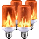 Lumiereholic LED Flame Effect Light Bulb Fire Flickering Decorative Bulbs Simulated Nature Fire Atmosphere Lamp for Christmas/Party/ Home/Garden/ Restaurant/Bar/ Halloween/Festival Decoration 4pc