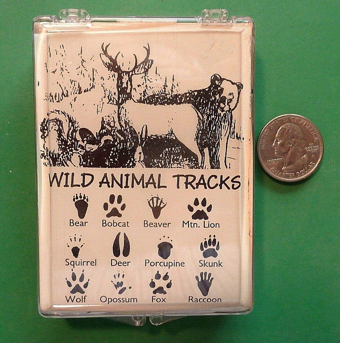 Wild Animal Tracks, Set of 12 Wood Mounted Rubber Stamps - Rubber Stamp Wood Carving Blocks by Wooden Stamps