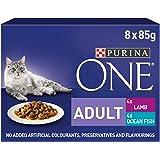 Purina ONE - Lote de 5 filetes para adulto con forma de gato mojado, 8