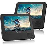 """IMPECCA DVD Player, Portable Dual Screen DVD Player 7"""" for Car Headrest or Home with USB, SD Card Reader, Rechargeable Battery, Memory Function, Two Screens Play One Movie"""