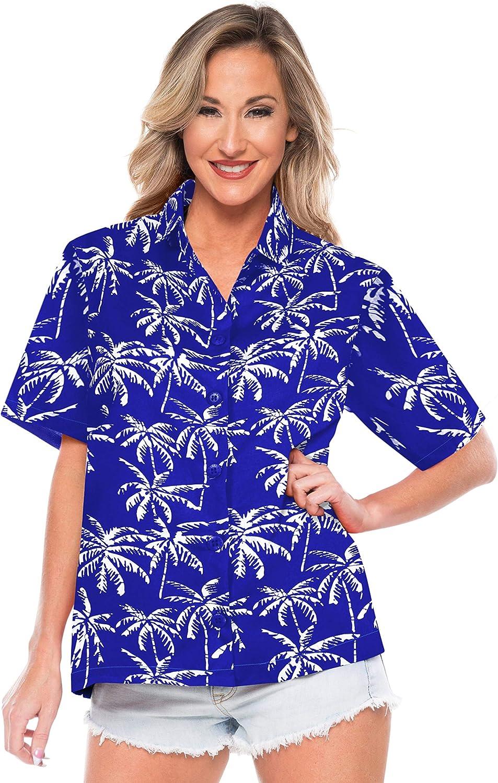 LA LEELA v botón de Camisa de Cuello Palmera Relajado de Las Mujeres del Cuello hasta la Camisa Hawaiana: Amazon.es: Ropa y accesorios