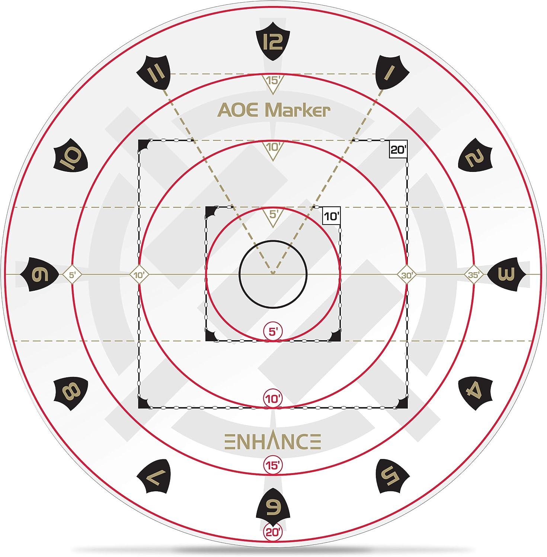 ENHANCE Marcador de daño de AOE de Hechizo para Juegos de rol de Mesa - La Plantilla de área de Efecto de D&D determina los Efectos de Hechizo en los mapas - Accesorios DND DM