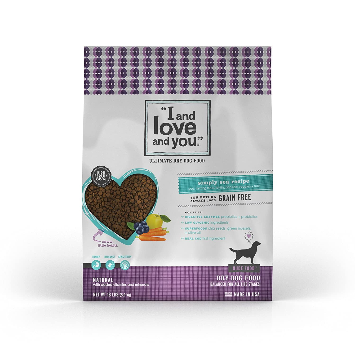 """I and love and you"" Nude Food Simply Sea Grain Free Dry Dog Food, 13 LB"