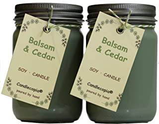 product image for Candlecopia Balsam & Cedar Strongly Scented Hand Poured Premium Soy Candles, 12 Ounce Pewter Lid Canning Jar x 2-Pack