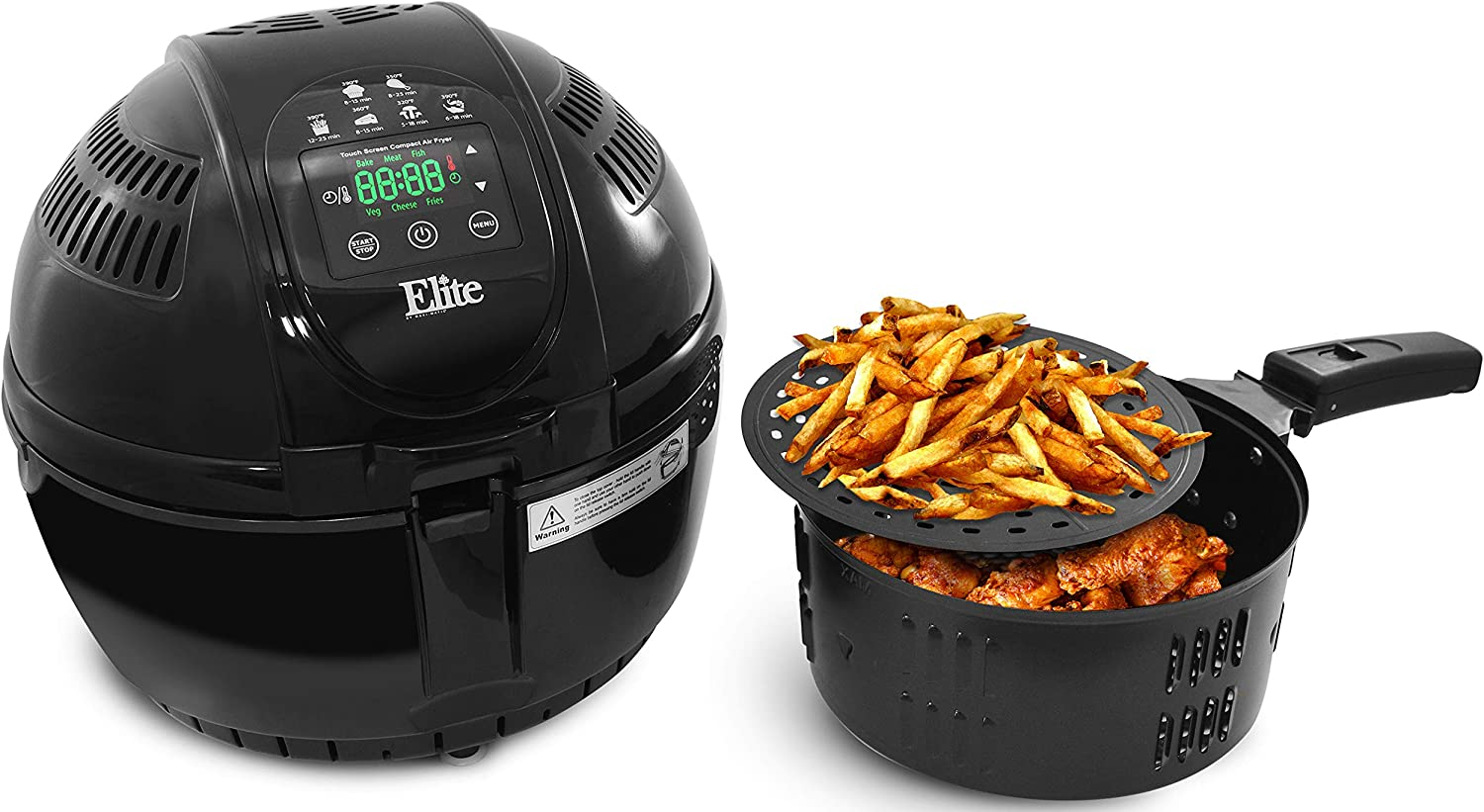 Elite Platinum EAF-2500D Dual Basket 3.5Qt Electric Digital Hot Air Fryer, 1400-Watts, Oil-Less Healthy Cooker, Temp/Timer Settings, PFOA/PTFE Free, Includes 26 Full Color Recipes, Black