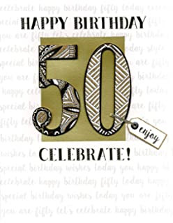 50th Birthday Gigantic Greeting Card Embellished Flittered A4 Sized Cards