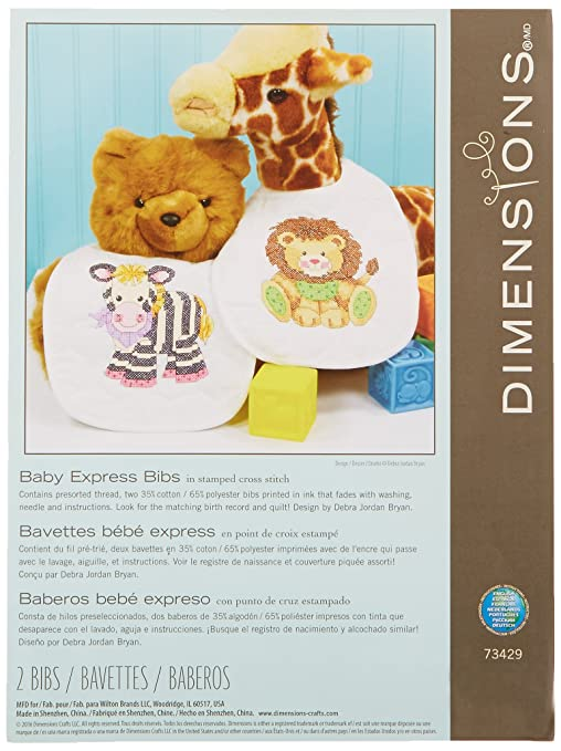 Dimensions Stamped Cross Stitch Baby Express Zebra And Lion Diy Baby Bibs 2 Pc 9 X 14