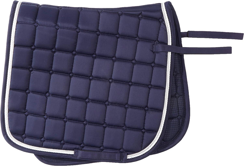 Horse&Passion 914031/11777 Fashion Silla de Montar, Azul Oscuro, Doble Cordón Blanco, Plata