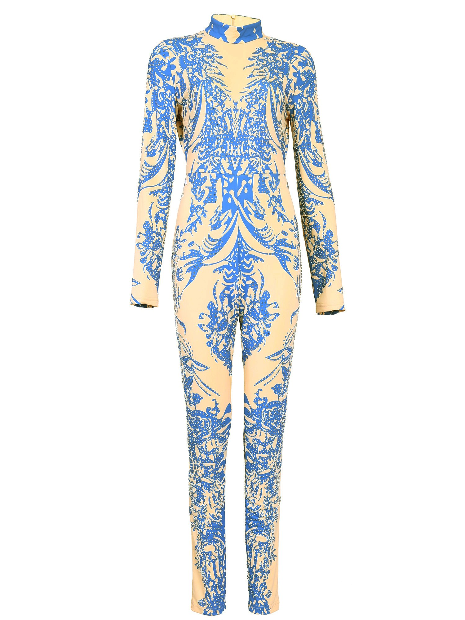Tina Beauty Mock Neck Long Sleeve Beaded Graphic Printed One Piece Long Pants Jumpsuit Medium-Pale Blue