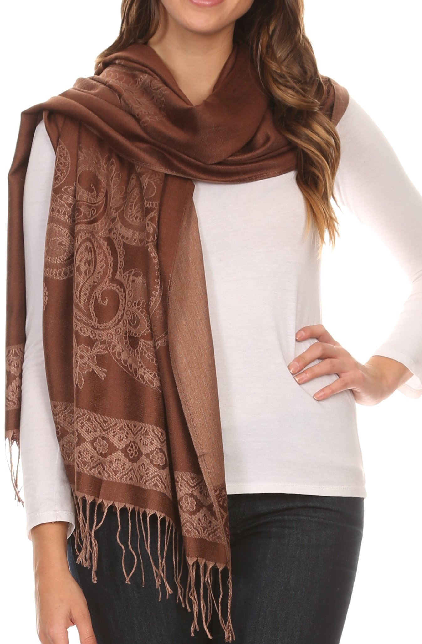 Sakkas 16114 - Seily Long Extra Wide Fringe Paisley Patterned Pashmina Shawl/Scarf - Brown/Golden - OS