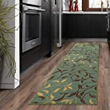 "Silk Road Concepts Collection Contemporary Rugs, 2'7"" x 9'10"", Seafoam Leaf"