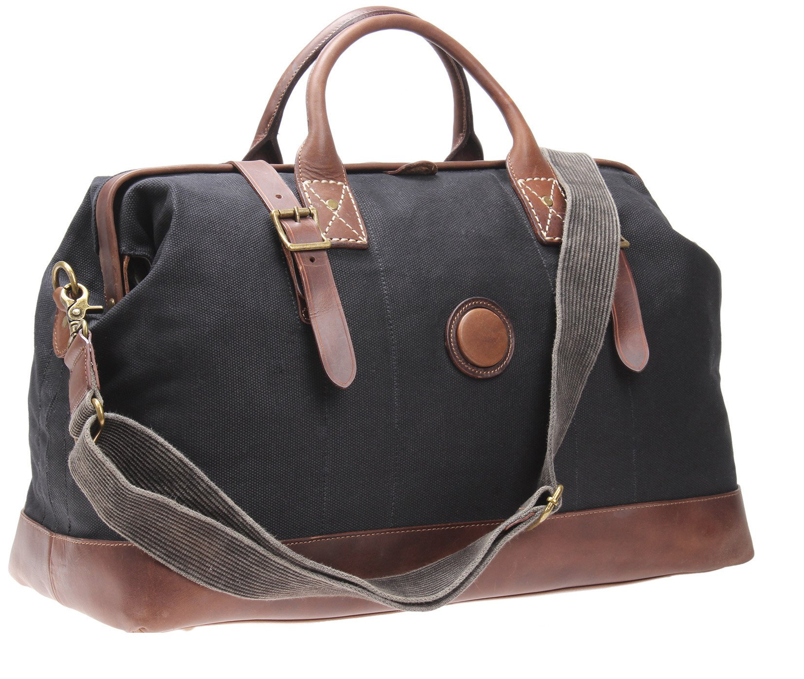 MSG Leather Weekender Bag Canvas Overnight Travel Duffels Gym Tote Large A002 (Black)