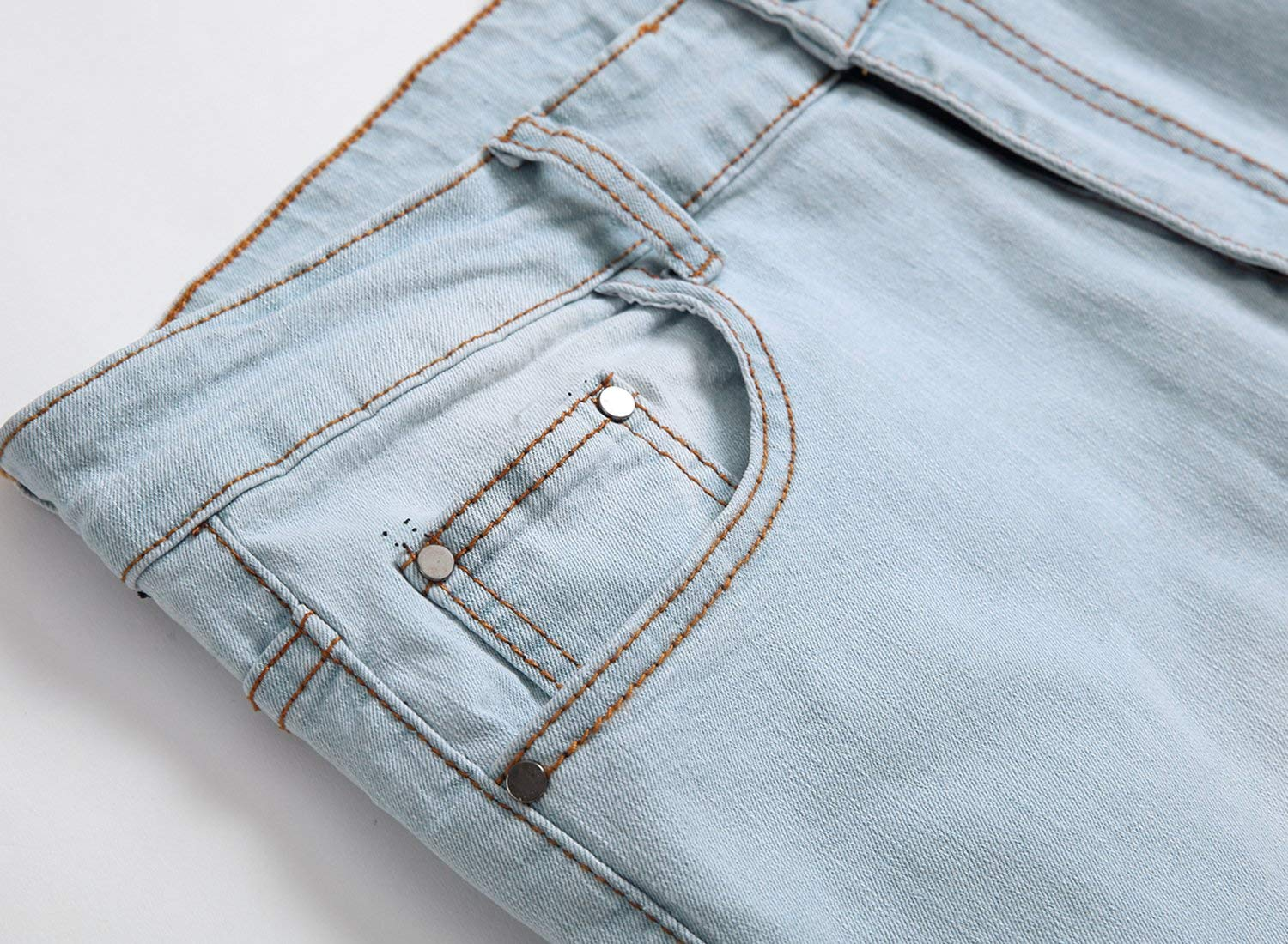 GARMOY Men's Fashion Light Blue Ripped Destroyed Flower Embroidered Skinny Fit Jeans Blue 32 by GARMOY (Image #4)
