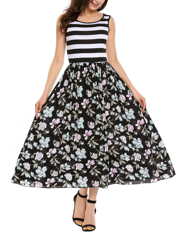 Beyove Damen Ärmellos Skaterkleid Ballkleid Festliches Kleid Cocktailkleid Party Business Kleid A-Linie mit Gürtel