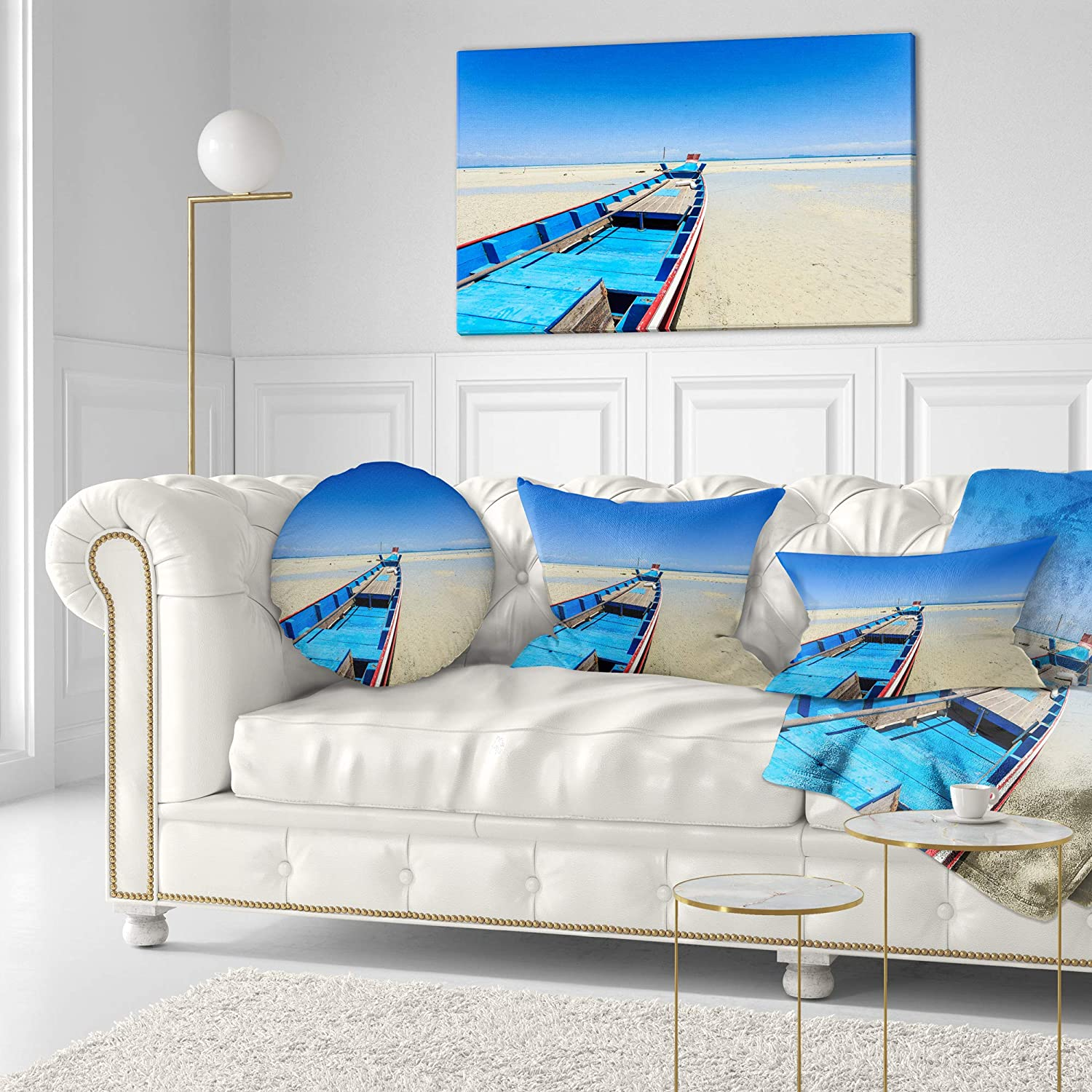 Designart CU14724-20-20-C Long Tail Boat Stand at The Beach Seashore Round Cushion Cover for Living Room Sofa Throw Pillow 20
