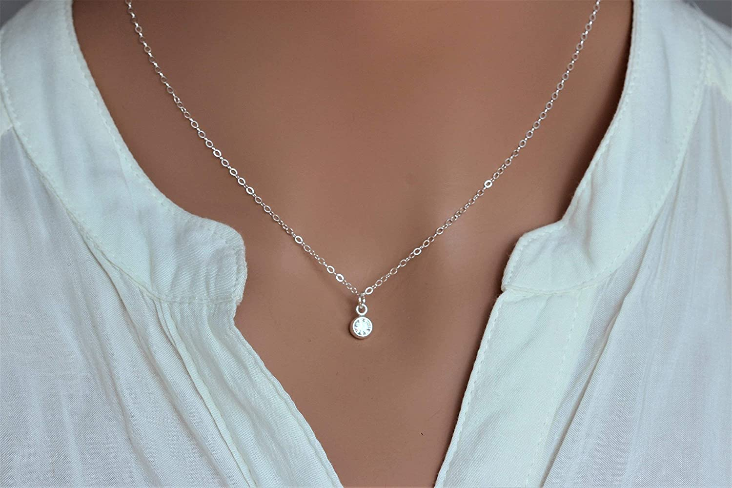 Sterling Silver Crystal Charm Pendant Choker Tiny Sparkling Necklace Dainty Everyday Short Simple Jewelry