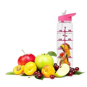Botellas de Agua, Grande de 1 Litro con Filtro Infusor de Fruta & Botella de